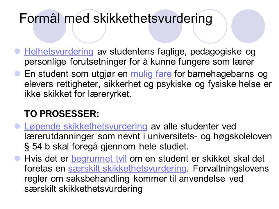 Formål med skikkethetsvurdering Helhetsvurdering av studentens faglige, pedagogiske og personlige forutsetninger for å kunne fungere som lærer En stud