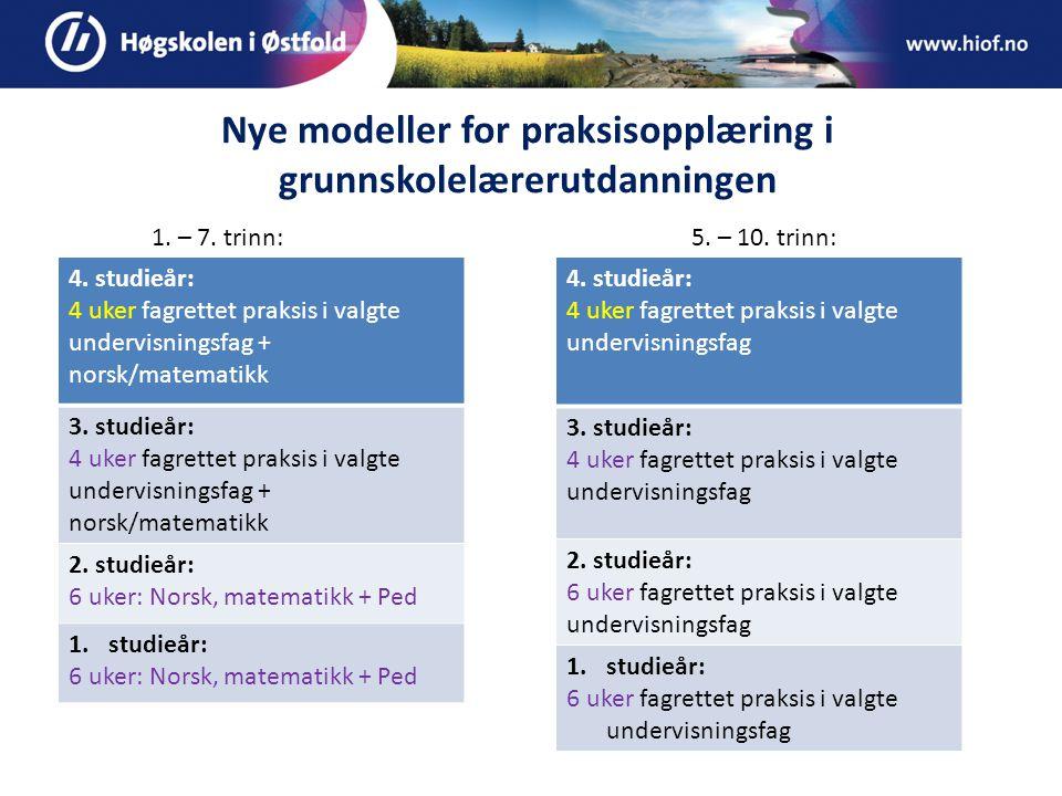 Nye modeller for praksisopplæring i grunnskolelærerutdanningen 4.