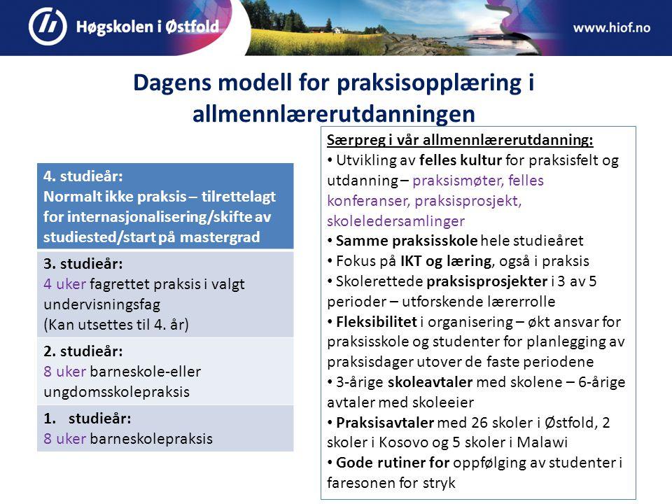 Dagens modell for praksisopplæring i allmennlærerutdanningen 4.