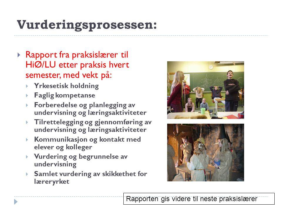 Vurderingsprosessen:  Rapport fra praksislærer til HiØ/LU etter praksis hvert semester, med vekt på:  Yrkesetisk holdning  Faglig kompetanse  Forb