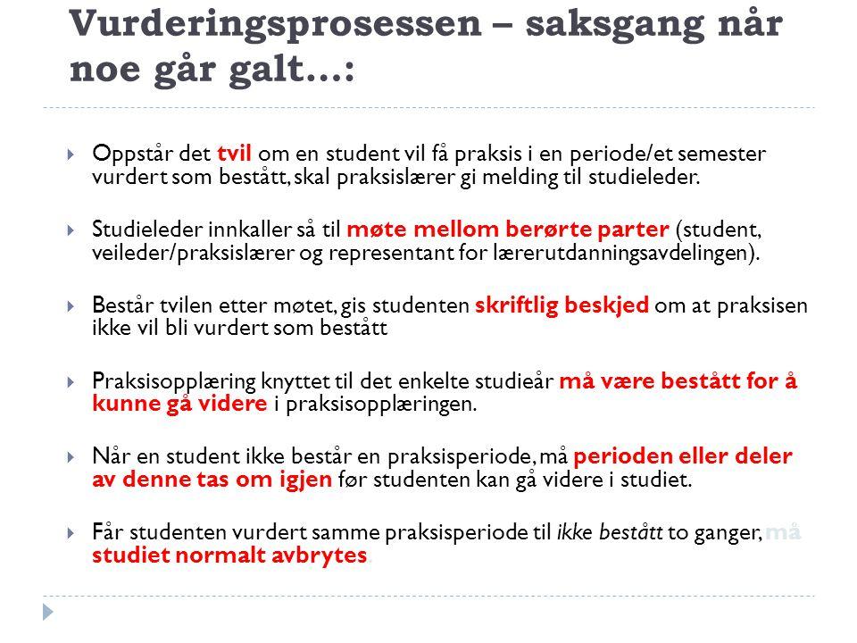 Vurderingsprosessen – saksgang når noe går galt…:  Oppstår det tvil om en student vil få praksis i en periode/et semester vurdert som bestått, skal p
