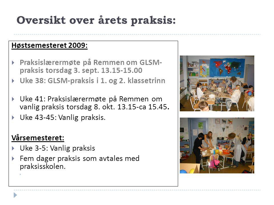 Oversikt over årets praksis: Høstsemesteret 2009:  Praksislærermøte på Remmen om GLSM- praksis torsdag 3. sept. 13.15-15.00  Uke 38: GLSM-praksis i