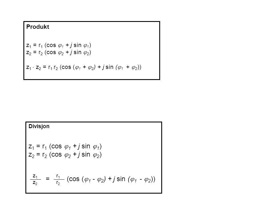 Produkt z 1 = r 1 (cos  1 + j sin  1 ) z 2 = r 2 (cos  2 + j sin  2 ) z 1  z 2 = r 1 r 2 (cos (  1 +  2 ) + j sin (  1 +  2 )) Divisjon z 1 = r 1 (cos  1 + j sin  1 ) z 2 = r 2 (cos  2 + j sin  2 ) = (cos (  1 -  2 ) + j sin (  1 -  2 )) z1z2z1z2 r1r2r1r2