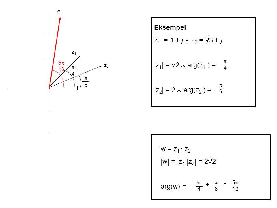 Eksempel z 1 = 1 + j  z 2 =  3 + j |z 1 | =  2  arg(z 1 ) = |z 2 | = 2  arg(z 2 ) = 44 66 z1z1 z2z2 66 44 w = z 1  z 2 |w| = |z 1 ||z 2 | = 2  2 arg(w) = 44 + 66 = 5  12 w