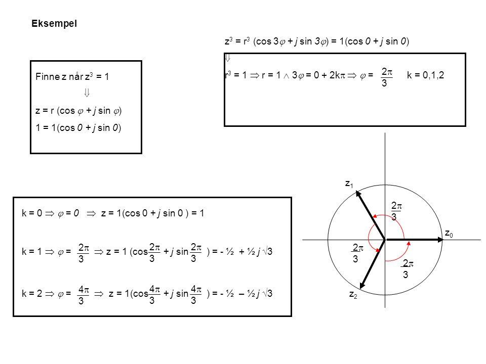 Finne z når z 3 = 1  z = r (cos  + j sin  ) 1 = 1(cos 0 + j sin 0) z 3 = r 3 (cos 3  + j sin 3  ) = 1(cos 0 + j sin 0)  r 3 = 1  r = 1  3  = 0 + 2k    = k = 0,1,2 2323 k = 0   = 0  z = 1(cos 0 + j sin 0 ) = 1 k = 1   =  z = 1 (cos + j sin ) = - ½ + ½ j  3 2323 2323 2323 k = 2   =  z = 1(cos + j sin ) = - ½ – ½ j  3 4343 4343 4343 2323 2323 z0z0 z1z1 z2z2 2323 Eksempel