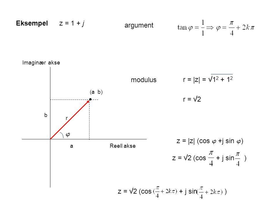 Reell akse Imaginær akse (a b) a b r z = 1 + jEksempel  r = |z| =  1 2 + 1 2 z = |z| (cos  +j sin  ) r =  2 z =  2 (cos + j sin ) argument modulus