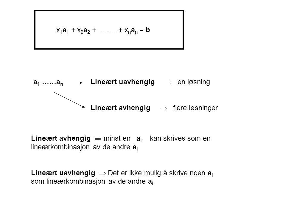 x 1 a 1 + x 2 a 2 + …….. + x n a n = b a 1 ……a n Lineært uavhengig  en løsning Lineært avhengig  flere løsninger Lineært avhengig  minst en a i kan
