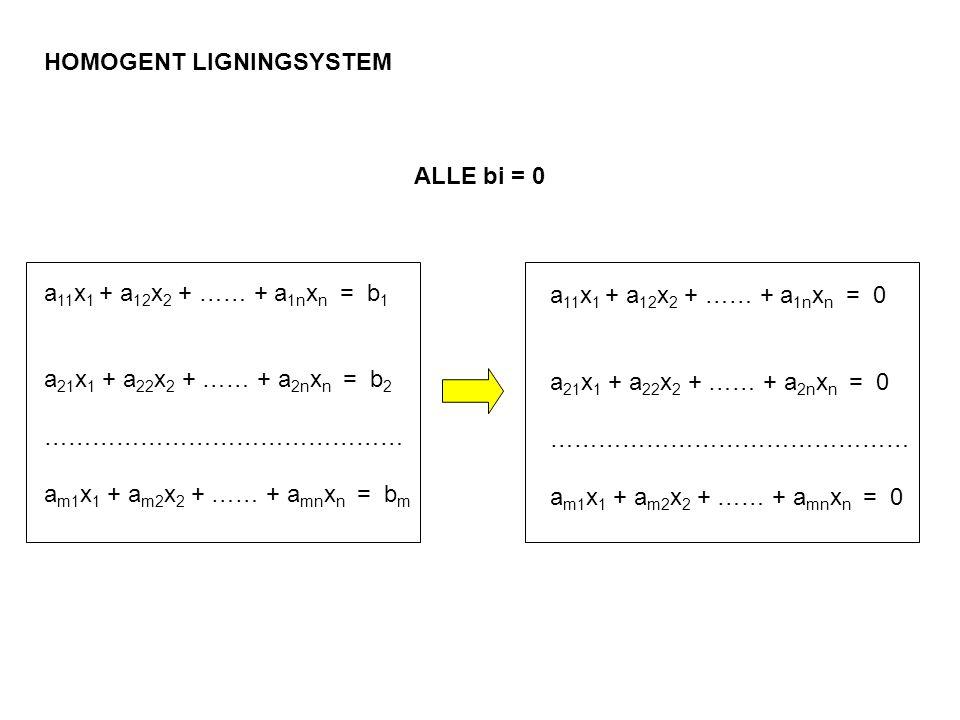 HOMOGENT LIGNINGSYSTEM a 11 x 1 + a 12 x 2 + …… + a 1n x n = b 1 a 21 x 1 + a 22 x 2 + …… + a 2n x n = b 2 ……………………………………… a m1 x 1 + a m2 x 2 + …… +