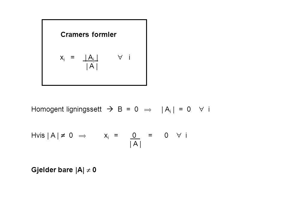 x i = | A i |  i | A | Homogent ligningssett  B = 0  | A i | = 0  i Hvis | A |  0  x i = 0 = 0  i | A | Gjelder bare |A|  0 Cramers formler