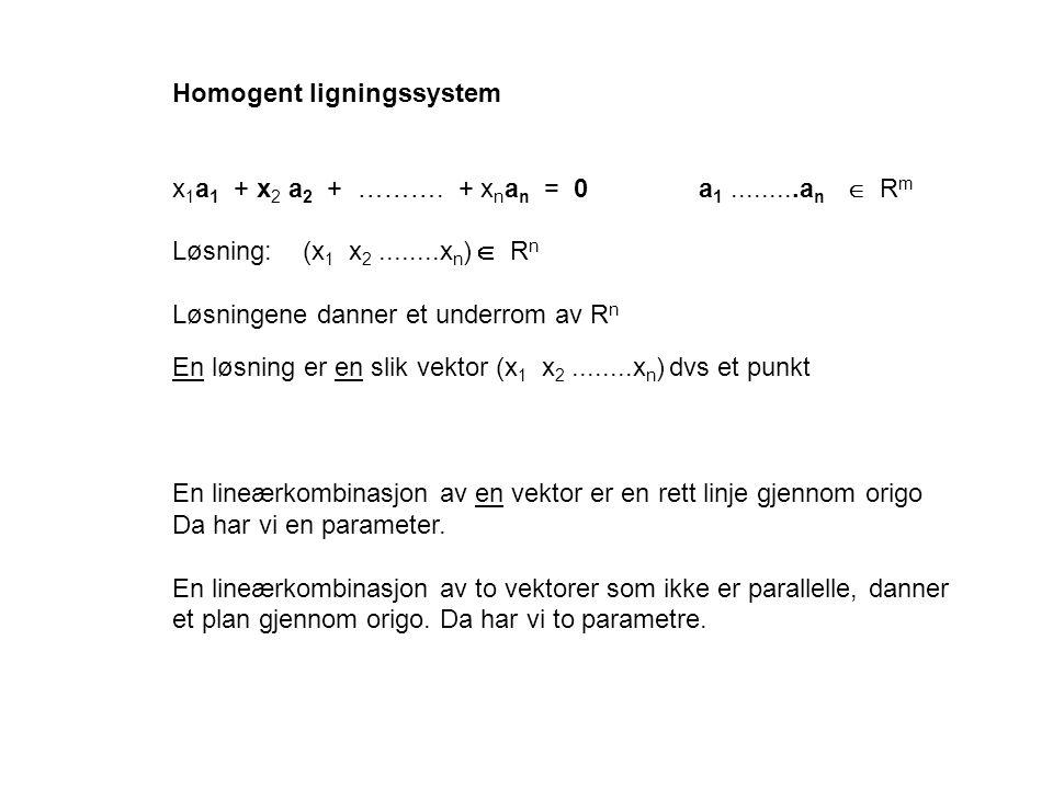 Homogent ligningssystem x 1 a 1 + x 2 a 2 + ………. + x n a n = 0 a 1.........a n  R m Løsning: (x 1 x 2........x n )  R n Løsningene danner et underro