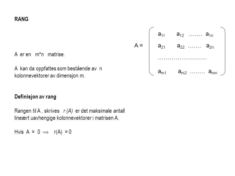 RANG A er en m*n matrise. A kan da oppfattes som bestående av n kolonnevektorer av dimensjon m. Definisjon av rang Rangen til A, skrives r (A) er det