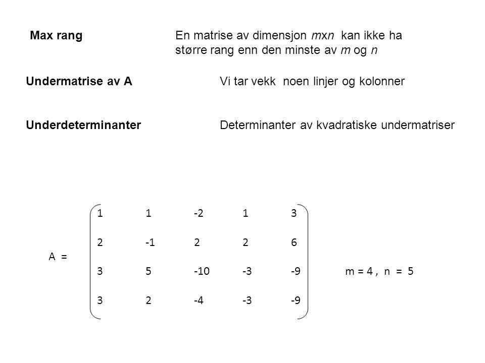 Undermatrise av A Vi tar vekk noen linjer og kolonner Underdeterminanter Determinanter av kvadratiske undermatriser Max rangEn matrise av dimensjon mx