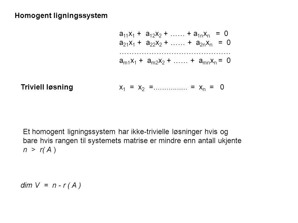 a 11 x 1 + a 12 x 2 + …… + a 1n x n = 0 a 21 x 1 + a 22 x 2 + …… + a 2n x n = 0 ……………………………………… a m1 x 1 + a m2 x 2 + …… + a mn x n = 0 x 1 = x 2 =...