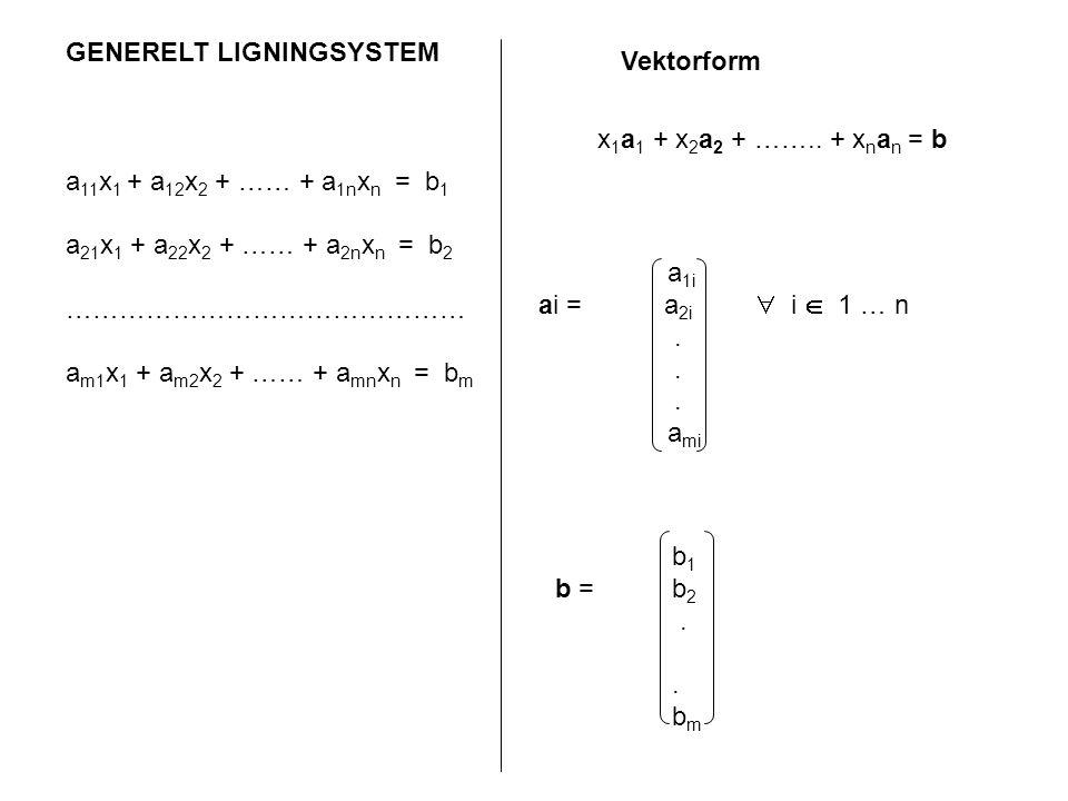 GENERELT LIGNINGSYSTEM a 11 x 1 + a 12 x 2 + …… + a 1n x n = b 1 a 21 x 1 + a 22 x 2 + …… + a 2n x n = b 2 ……………………………………… a m1 x 1 + a m2 x 2 + …… +