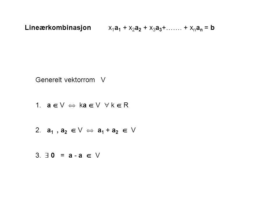 Lineærkombinasjonx 1 a 1 + x 2 a 2 + x 3 a 3 +……. + x n a n = b Generelt vektorrom V 1. a  V  ka  V  k  R 2. a 1, a 2  V  a 1 + a 2  V 3.  0