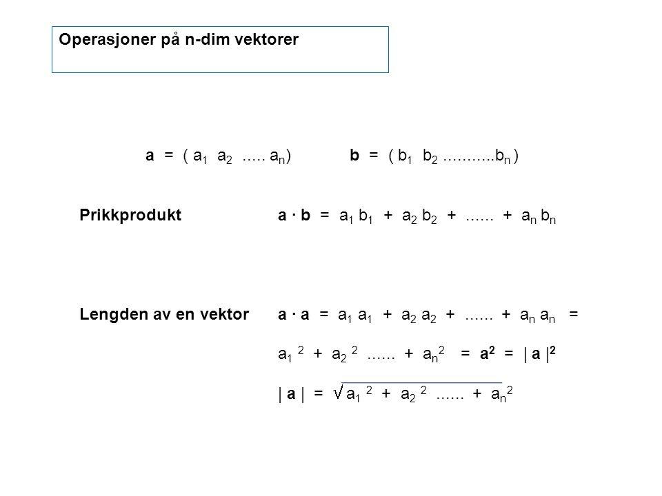 a = ( a 1 a 2..... a n ) b = ( b 1 b 2...........b n ) Prikkprodukta · b = a 1 b 1 + a 2 b 2 +...... + a n b n Lengden av en vektora · a = a 1 a 1 + a