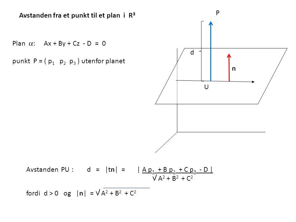 Avstanden fra et punkt til et plan i R 3 Plan  : Ax + By + Cz - D = 0 punkt P = ( p 1 p 2 p 3 ) utenfor planet Avstanden PU : d = |tn| = | A p 1 + B