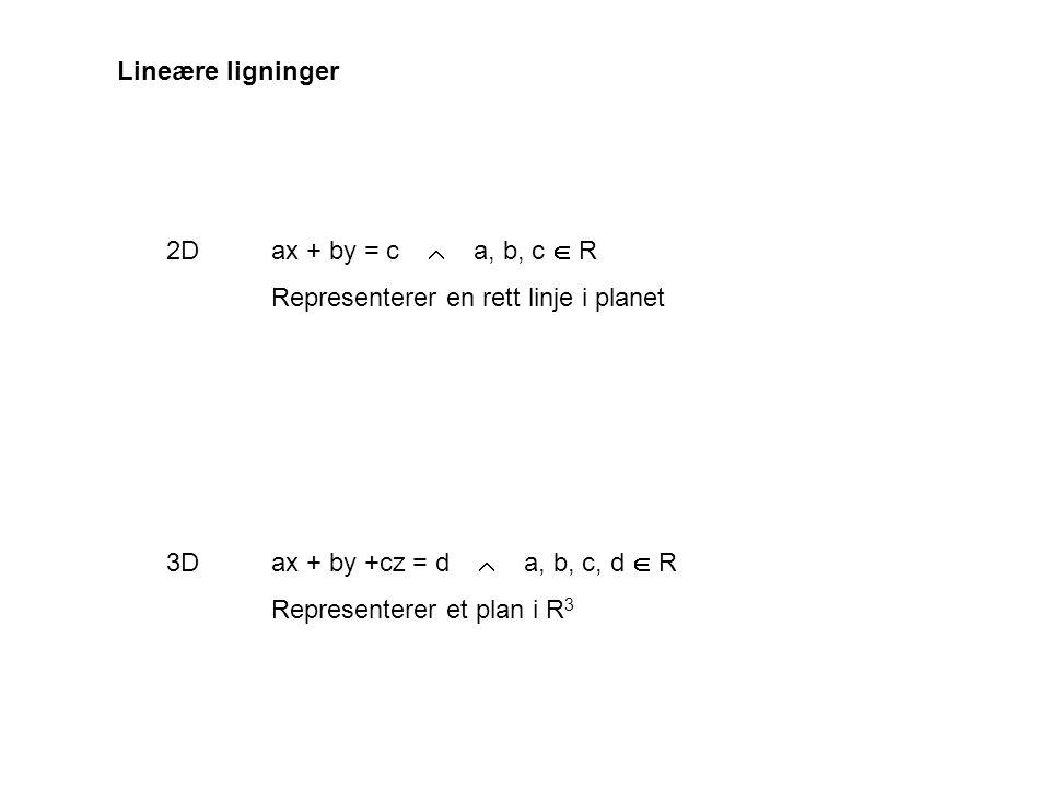 Ligning for et plan i R 3 Et plan er fullstendig bestemt ved et punkt og retningsvektor for planets normal Punkt: p = ( p 1, p 2, p 3 ) Vektor: n = (n 1, n 2, n 3 ) n   x y z  n Fritt valgt punkt i planet  : x = ( x, y, z ) Vektor i planet:x - p x - p  n  ( x - p) · n = 0 Ligning for  :x · n = p · n p x x-p
