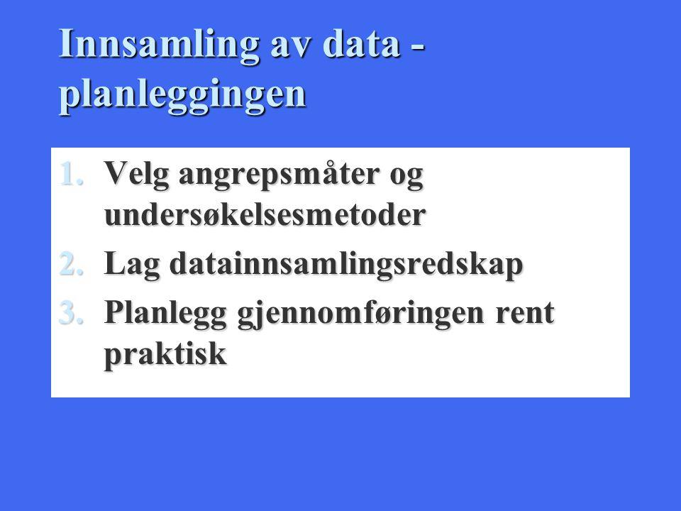 Innsamling av data - planleggingen 1.Velg angrepsmåter og undersøkelsesmetoder 2.Lag datainnsamlingsredskap 3.Planlegg gjennomføringen rent praktisk