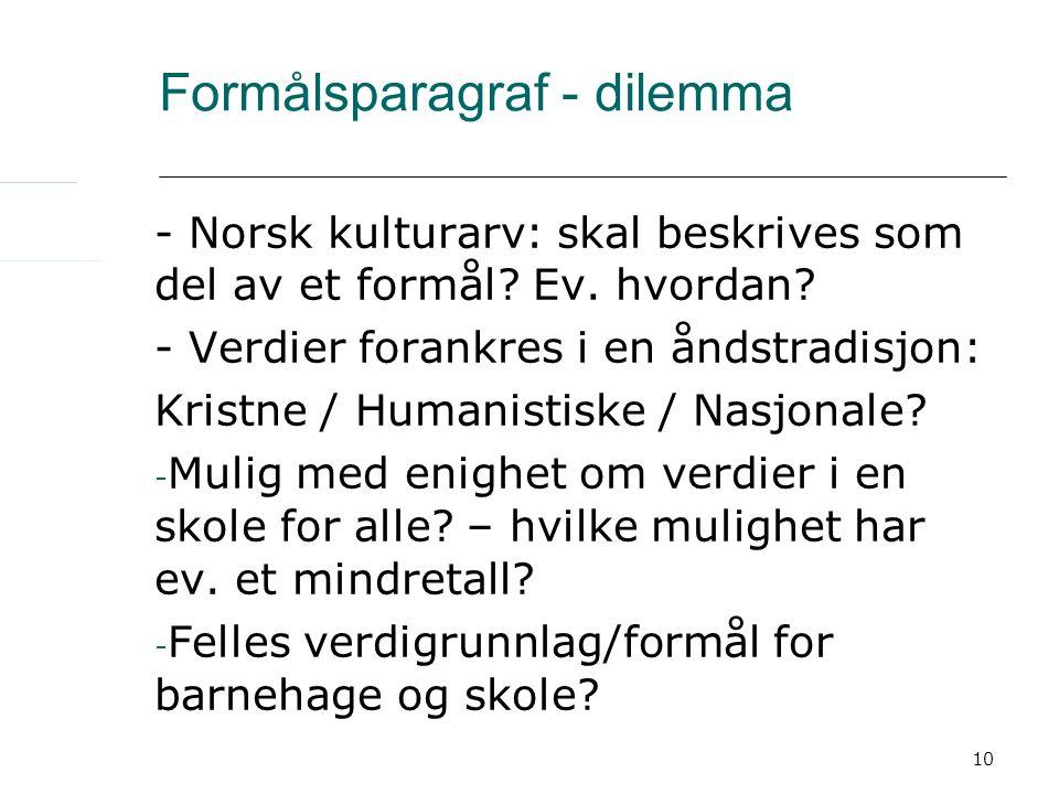 10 Formålsparagraf - dilemma - Norsk kulturarv: skal beskrives som del av et formål? Ev. hvordan? - Verdier forankres i en åndstradisjon: Kristne / Hu