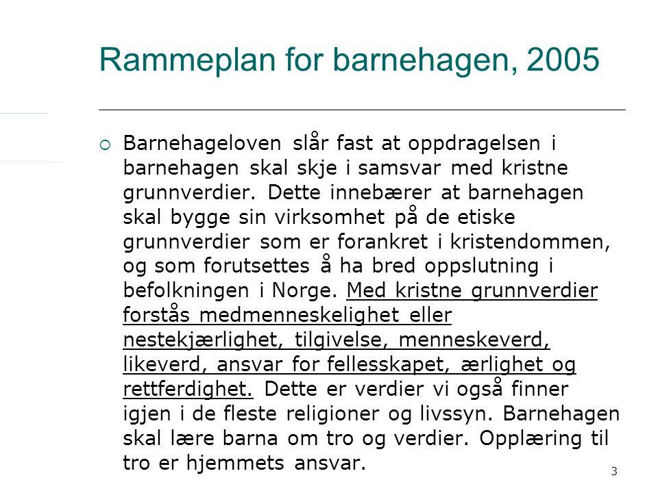 3 Rammeplan for barnehagen, 2005  Barnehageloven slår fast at oppdragelsen i barnehagen skal skje i samsvar med kristne grunnverdier. Dette innebærer