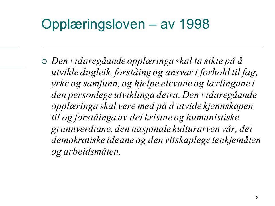 5 Opplæringsloven – av 1998  Den vidaregåande opplæringa skal ta sikte på å utvikle dugleik, forståing og ansvar i forhold til fag, yrke og samfunn,