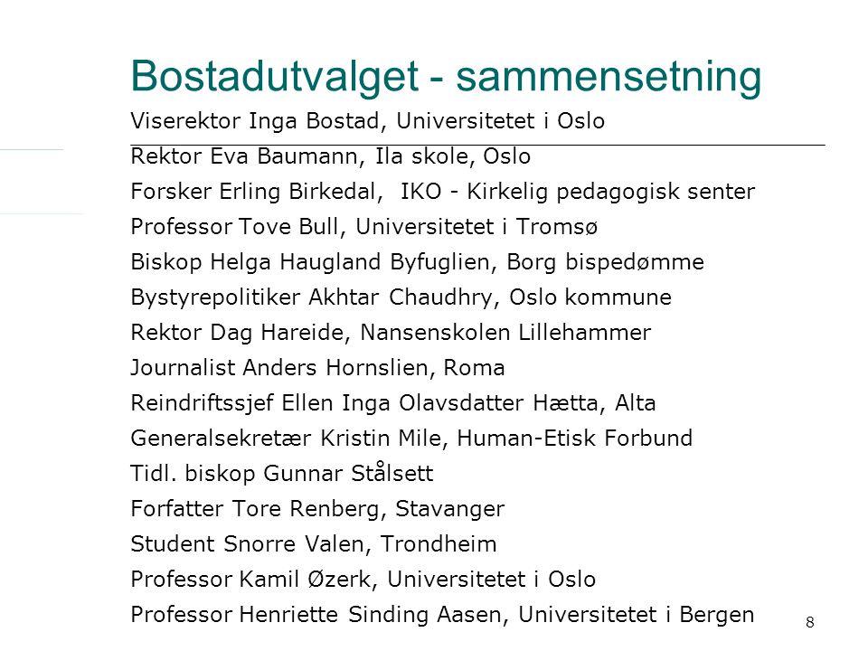 8 Bostadutvalget - sammensetning Viserektor Inga Bostad, Universitetet i Oslo Rektor Eva Baumann, Ila skole, Oslo Forsker Erling Birkedal, IKO - Kirke