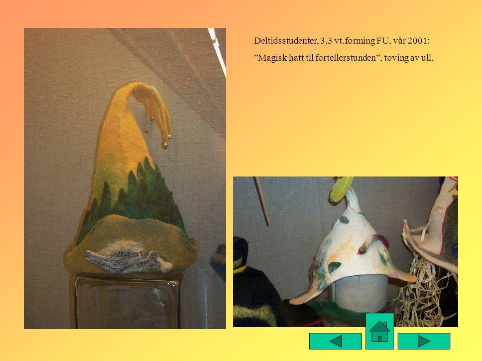"""Deltidsstudenter, 3,3 vt.forming FU, vår 2001: """"Magisk hatt til fortellerstunden"""", toving av ull."""
