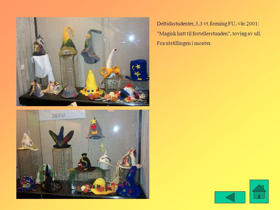 """Deltidsstudenter, 3,3 vt.forming FU, vår 2001: """"Magisk hatt til fortellerstunden"""", toving av ull. Fra utstillingen i monter."""
