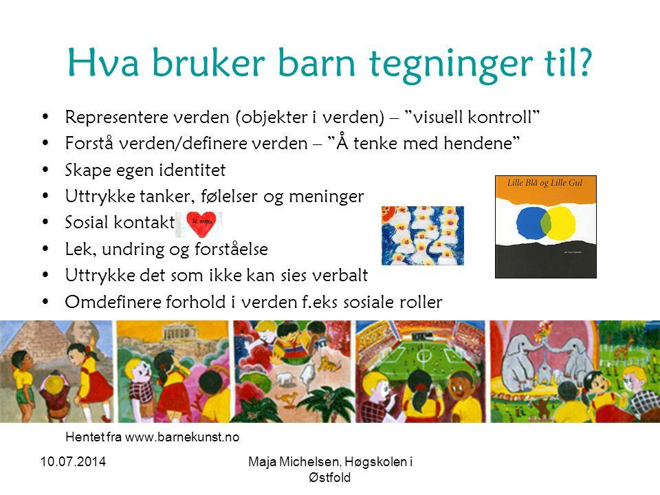"""10.07.2014Maja Michelsen, Høgskolen i Østfold Hva bruker barn tegninger til? Representere verden (objekter i verden) – """"visuell kontroll"""" Forstå verde"""