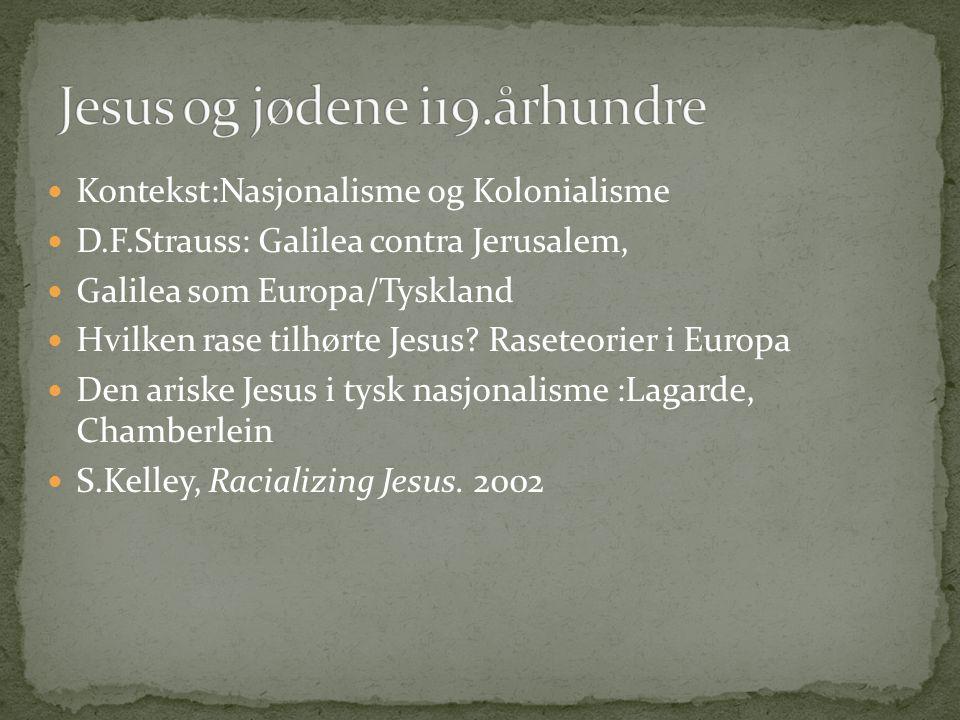 Kontekst:Nasjonalisme og Kolonialisme D.F.Strauss: Galilea contra Jerusalem, Galilea som Europa/Tyskland Hvilken rase tilhørte Jesus? Raseteorier i Eu