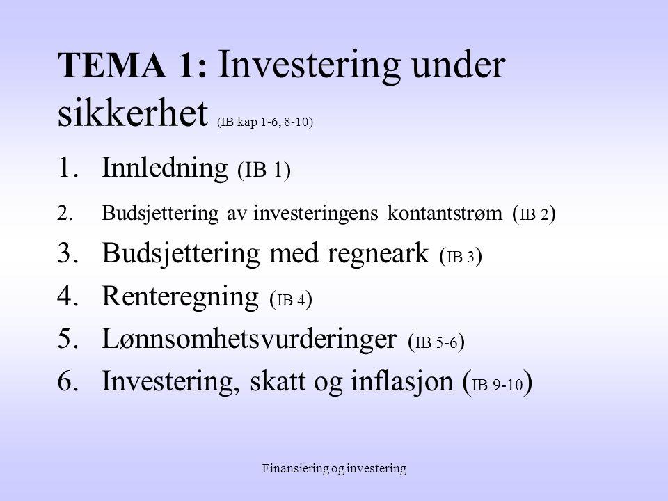 Undervisningen Inndeles i tre hovedtemaer: 1.Investering under sikkerhet 2.Investering under usikkerhet 3.Finansiering