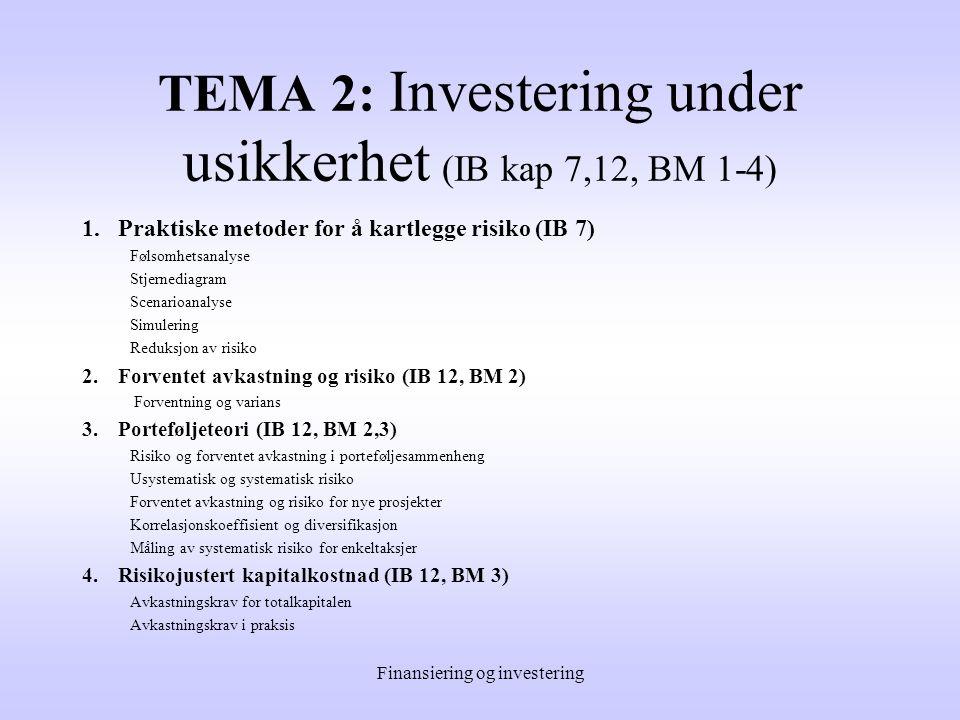 Finansiering og investering TEMA 1: Investering under sikkerhet (IB kap 1-6, 8-10) 1.Innledning (IB 1) 2.Budsjettering av investeringens kontantstrøm ( IB 2 ) 3.Budsjettering med regneark ( IB 3 ) 4.Renteregning ( IB 4 ) 5.Lønnsomhetsvurderinger ( IB 5-6 ) 6.Investering, skatt og inflasjon ( IB 9-10 )