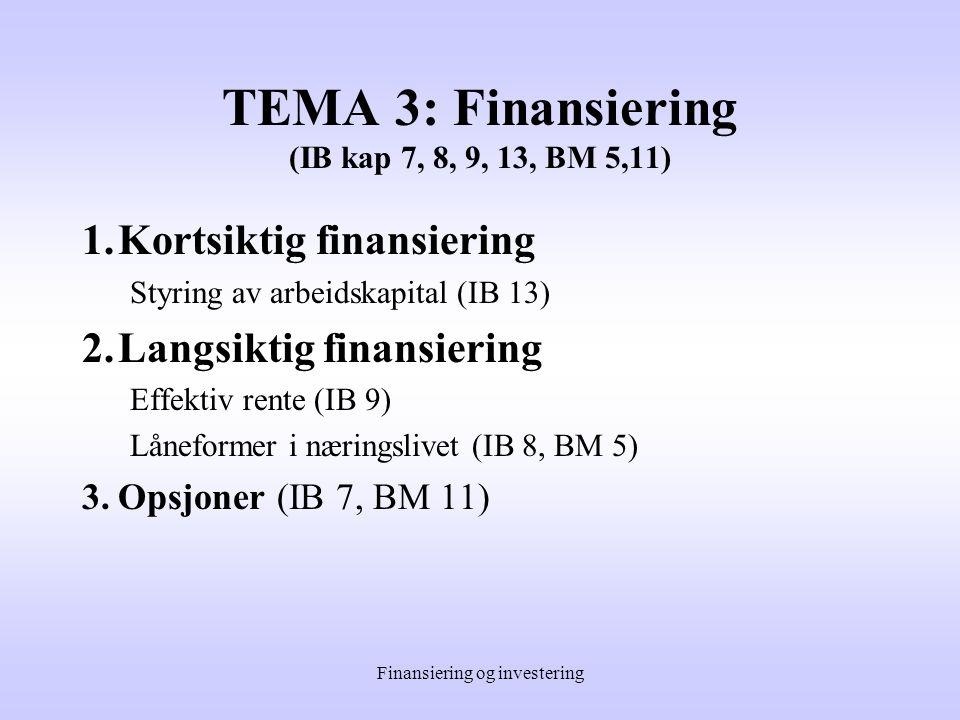 Finansiering og investering TEMA 2: Investering under usikkerhet (IB kap 7,12, BM 1-4) 1.Praktiske metoder for å kartlegge risiko (IB 7) Følsomhetsanalyse Stjernediagram Scenarioanalyse Simulering Reduksjon av risiko 2.Forventet avkastning og risiko (IB 12, BM 2) Forventning og varians 3.Porteføljeteori (IB 12, BM 2,3) Risiko og forventet avkastning i porteføljesammenheng Usystematisk og systematisk risiko Forventet avkastning og risiko for nye prosjekter Korrelasjonskoeffisient og diversifikasjon Måling av systematisk risiko for enkeltaksjer 4.Risikojustert kapitalkostnad (IB 12, BM 3) Avkastningskrav for totalkapitalen Avkastningskrav i praksis