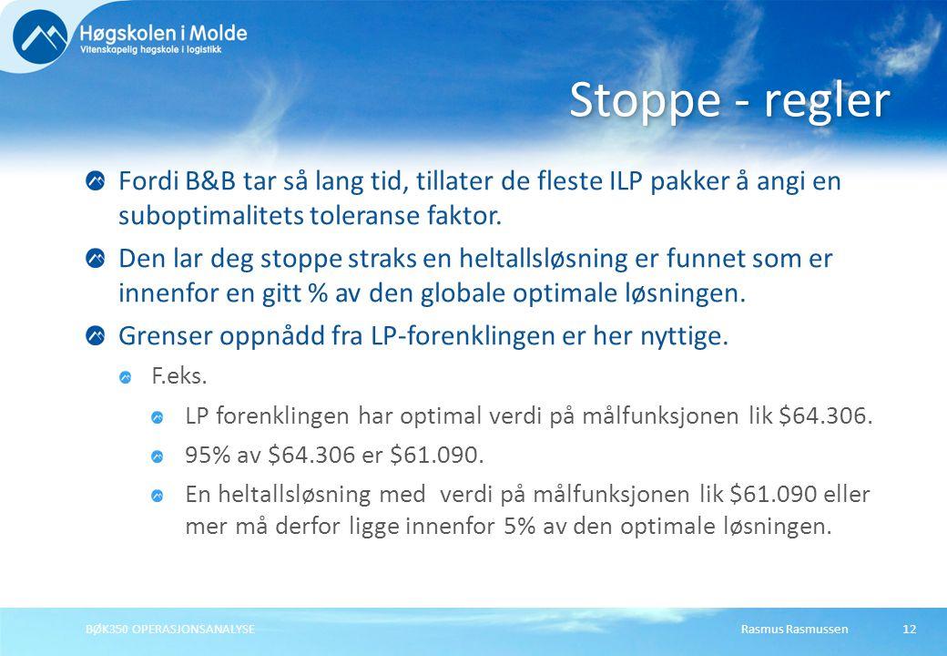 Rasmus RasmussenBØK350 OPERASJONSANALYSE12 Fordi B&B tar så lang tid, tillater de fleste ILP pakker å angi en suboptimalitets toleranse faktor.