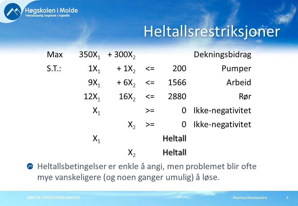 Rasmus RasmussenBØK350 OPERASJONSANALYSE3 Heltallsrestriksjoner Max350X 1 + 300X 2 Dekningsbidrag S.T.:1X 1 + 1X 2 <=200Pumper 9X 1 + 6X 2 <=1566Arbeid 12X 1 16X 2 <=2880Rør X1X1 >=0Ikke-negativitet X2X2 >=0Ikke-negativitet X1X1Heltall X2X2Heltall Heltallsbetingelser er enkle å angi, men problemet blir ofte mye vanskeligere (og noen ganger umulig) å løse.