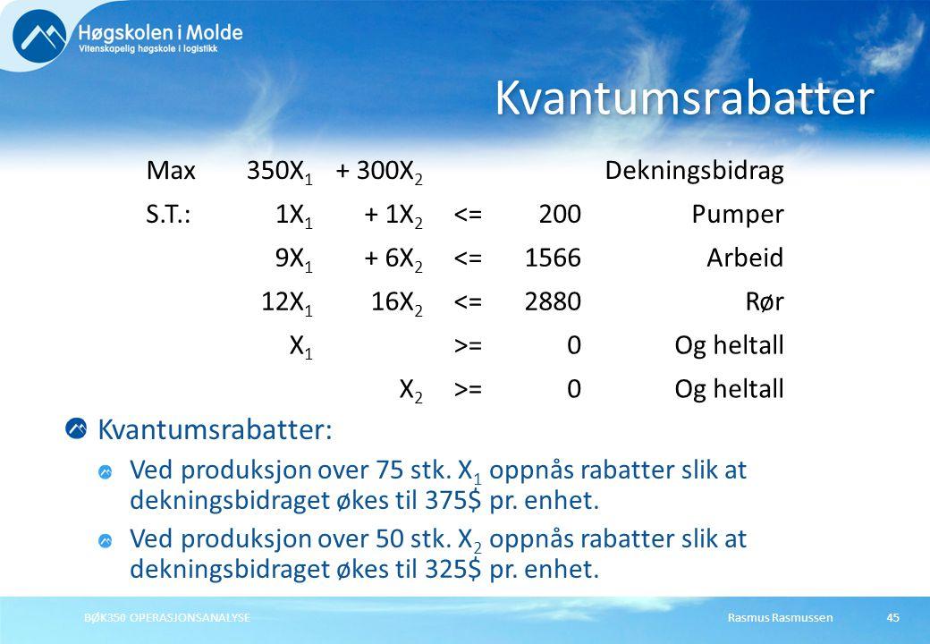 Rasmus RasmussenBØK350 OPERASJONSANALYSE45 Kvantumsrabatter: Ved produksjon over 75 stk.