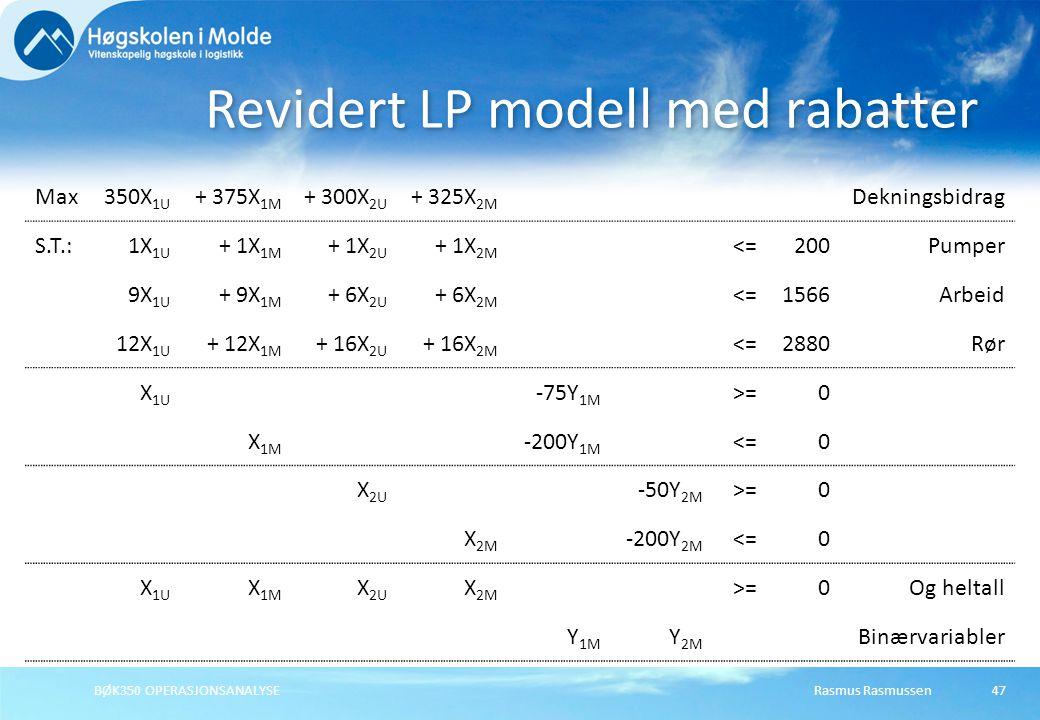 Rasmus RasmussenBØK350 OPERASJONSANALYSE47 Revidert LP modell med rabatter Max350X 1U + 375X 1M + 300X 2U + 325X 2M Dekningsbidrag S.T.:1X 1U + 1X 1M + 1X 2U + 1X 2M <=200Pumper 9X 1U + 9X 1M + 6X 2U + 6X 2M <=1566Arbeid 12X 1U + 12X 1M + 16X 2U + 16X 2M <=2880Rør X 1U -75Y 1M >=0 X 1M -200Y 1M <=0 X 2U -50Y 2M >=0 X 2M -200Y 2M <=0 X 1U X 1M X 2U X 2M >=0Og heltall Y 1M Y 2M Binærvariabler