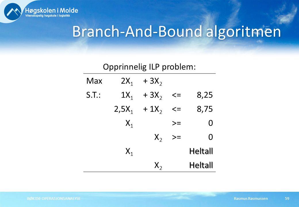 Rasmus RasmussenBØK350 OPERASJONSANALYSE59 Branch-And-Bound algoritmen Opprinnelig ILP problem: Max2X 1 + 3X 2 S.T.:1X 1 + 3X 2 <=8,25 2,5X 1 + 1X 2 <=8,75 X1X1 >=0 X2X2 0 X1X1Heltall X2X2Heltall