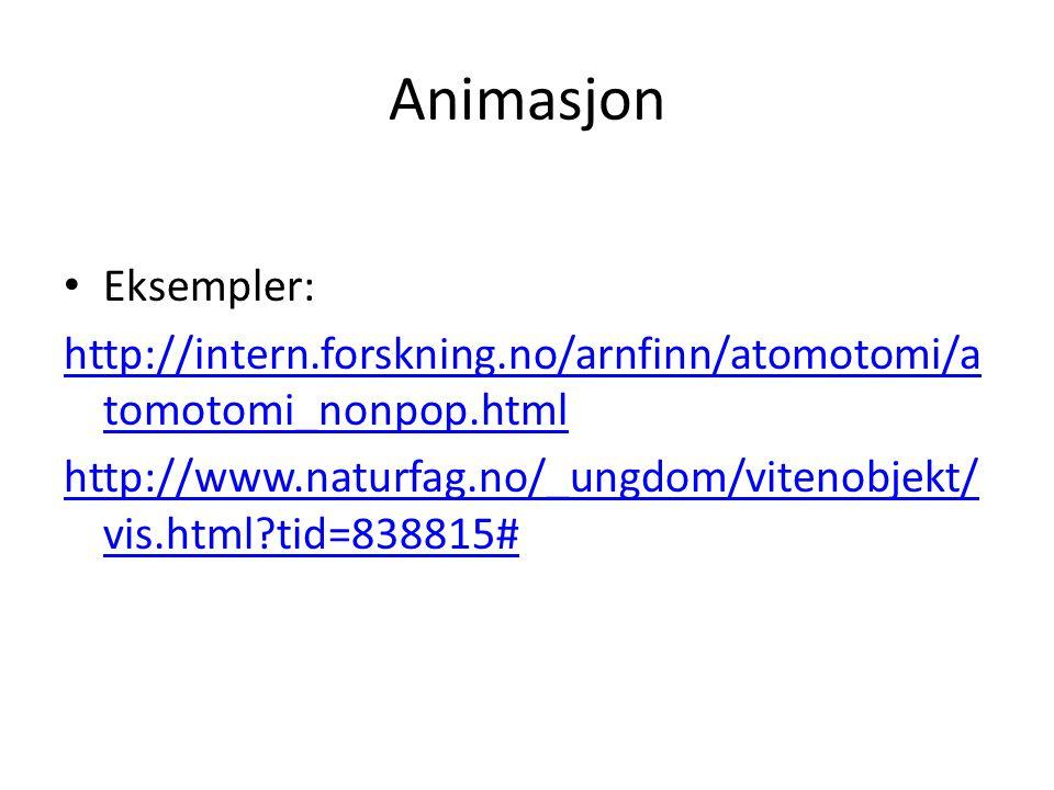 Animasjon Eksempler: http://intern.forskning.no/arnfinn/atomotomi/a tomotomi_nonpop.html http://www.naturfag.no/_ungdom/vitenobjekt/ vis.html?tid=838815#