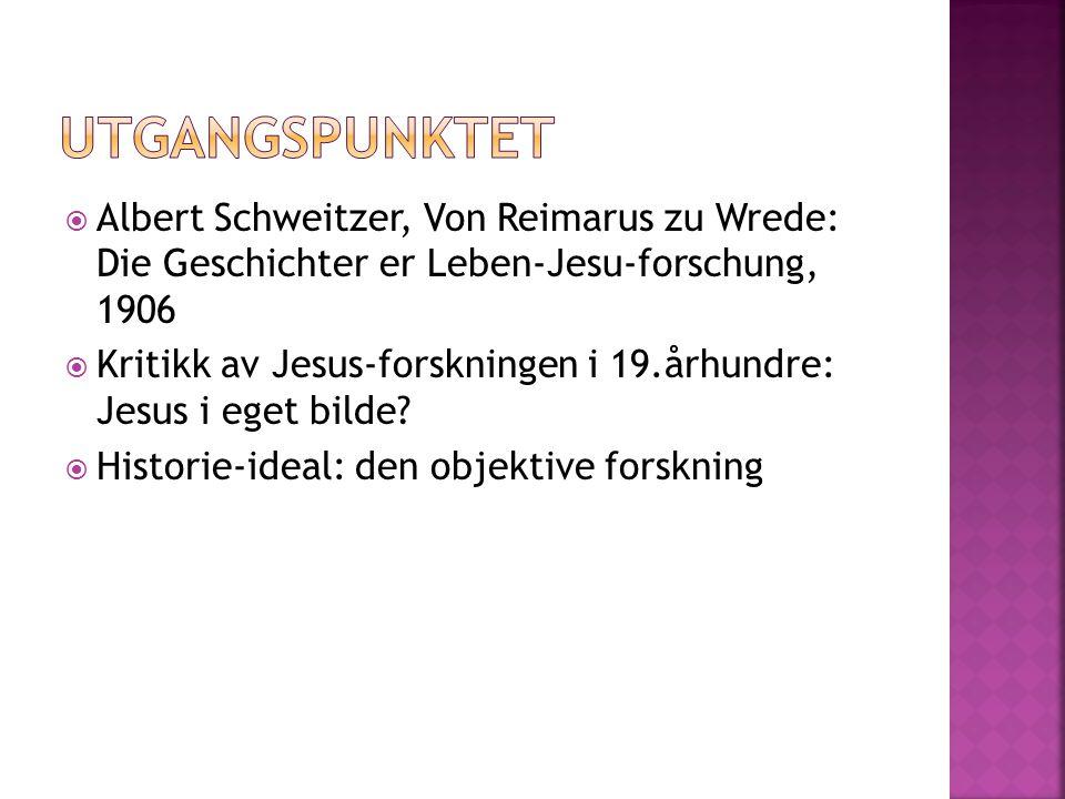  Albert Schweitzer, Von Reimarus zu Wrede: Die Geschichter er Leben-Jesu-forschung, 1906  Kritikk av Jesus-forskningen i 19.århundre: Jesus i eget b