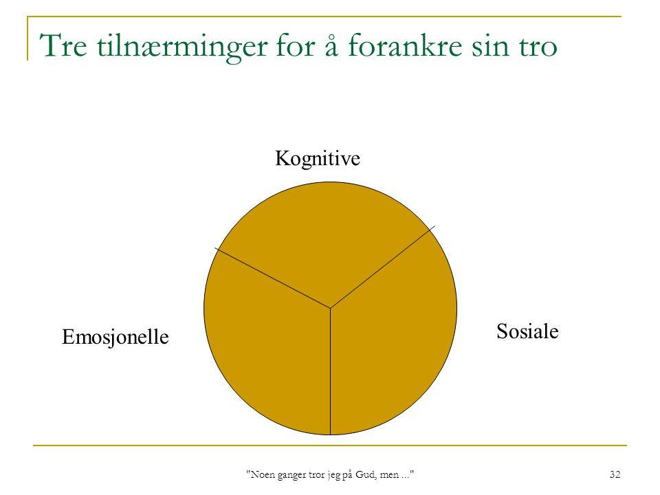 Noen ganger tror jeg på Gud, men... 32 Emosjonelle Tre tilnærminger for å forankre sin tro Kognitive Sosiale