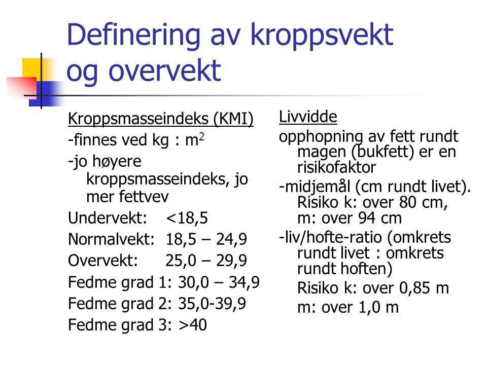 Definering av kroppsvekt og overvekt Kroppsmasseindeks (KMI) -finnes ved kg : m 2 -jo høyere kroppsmasseindeks, jo mer fettvev Undervekt: <18,5 Normal