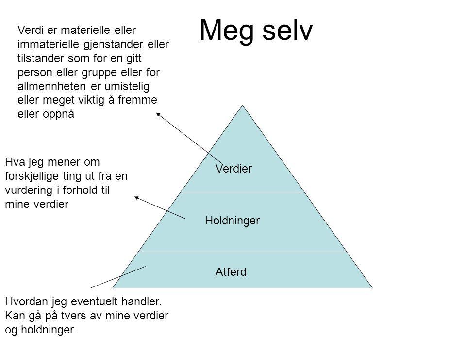 Meg selv Verdier Holdninger Atferd Verdi er materielle eller immaterielle gjenstander eller tilstander som for en gitt person eller gruppe eller for a