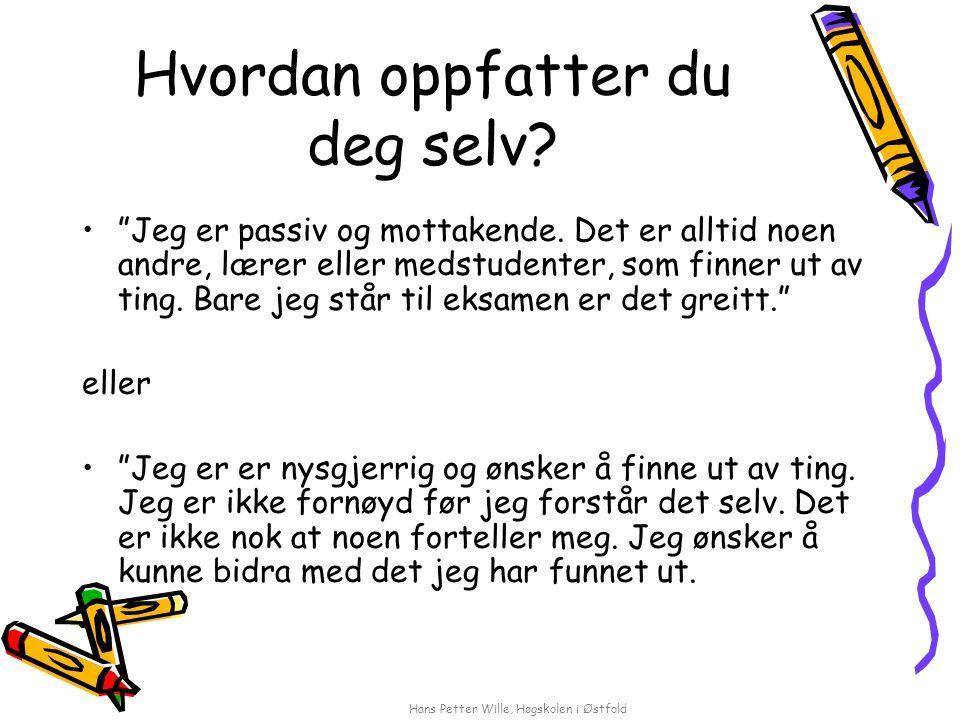 """Hans Petter Wille, Høgskolen i Østfold Hvordan oppfatter du deg selv? """"Jeg er passiv og mottakende. Det er alltid noen andre, lærer eller medstudenter"""