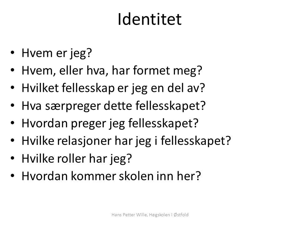 Identitet – ulike dimensjoner (Eriksen 1997:36) IdentitetSpråk Hjem- sted Ætt Nasjon- alitet Etnisk tilhør.