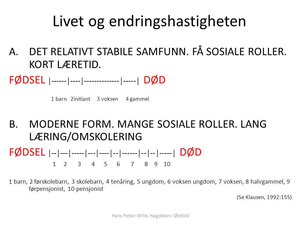Hans Petter Wille, Høgskolen i Østfold Livet og endringshastigheten A.DET RELATIVT STABILE SAMFUNN.