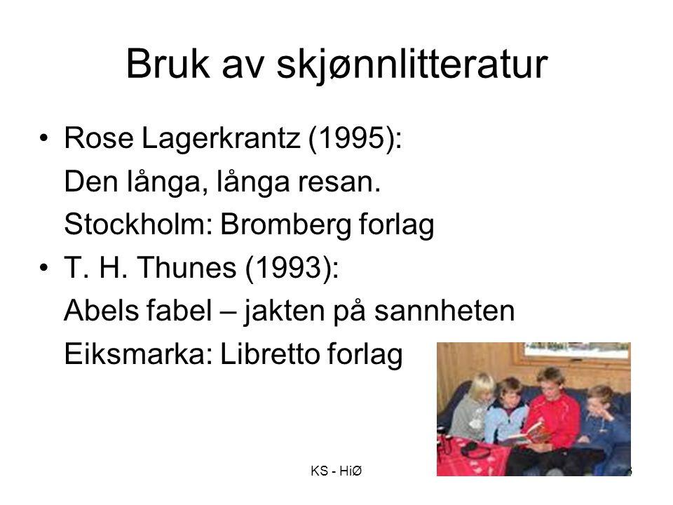Bruk av skjønnlitteratur Rose Lagerkrantz (1995): Den långa, långa resan. Stockholm: Bromberg forlag T. H. Thunes (1993): Abels fabel – jakten på sann
