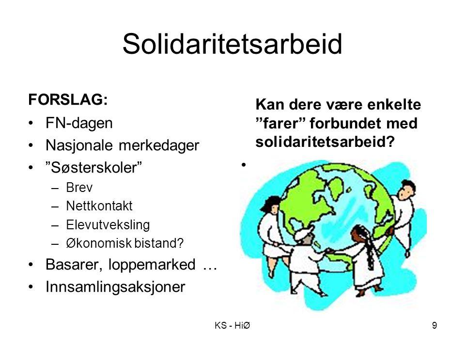 """Solidaritetsarbeid FORSLAG: FN-dagen Nasjonale merkedager """"Søsterskoler"""" –Brev –Nettkontakt –Elevutveksling –Økonomisk bistand? Basarer, loppemarked …"""