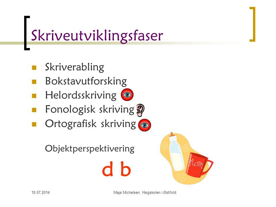 10.07.2014Maja Michelsen, Høgskolen i Østfold Skriverabling Eksempelet er hentet fra Høigård, Barns språkutvikling (2006).